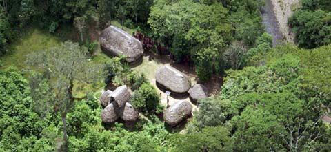Un barrio Sarayaku desde el aire