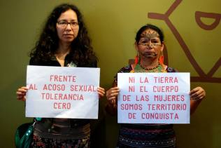 Members of Ecuadorian women's and feminist movement denounce sexual aggression as a strategy for the political control of women. Photo credit: Acción Ecológica